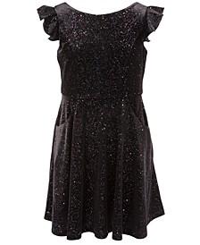 Big Girls Velvet Glitter Dress