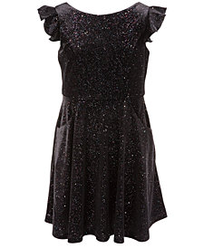 Pink & Violet Big Girls Velvet Glitter Dress