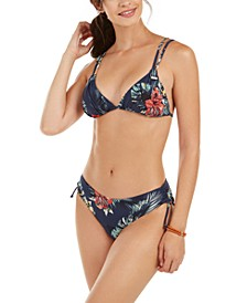 Juniors' Local Mind Printed Tiki Triangle Bikini Top & Full Bottoms