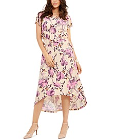 Printed Cutout-Waist High-Low Hem Dress, Created for Macy's