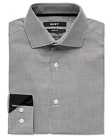 Big Boys Skinny-Fit Black/White Honeycomb Dress Shirt