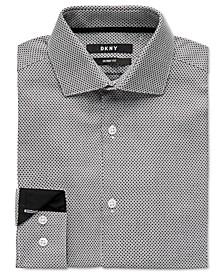 Big Boys Skinny-Fit Black/White Honeycomb Dress Shirt