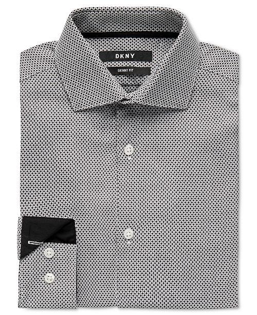 DKNY Big Boys Skinny-Fit Black/White Honeycomb Dress Shirt