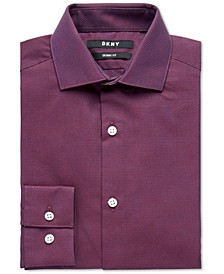 Big Boys Skinny-Fit Burgundy Neat Dobby Dress Shirt