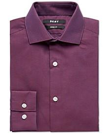 Big Boys Skinny-Fit Burgundy Neat Dobby Dress Shirt