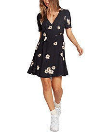 Juniors' Printed Wrap Dress