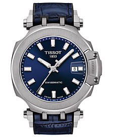 Men's Swiss Automatic T-Race Swissmatic Blue Rubber Strap Watch 49mm