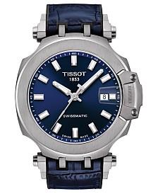 Tissot Men's Swiss Automatic T-Race Swissmatic Blue Rubber Strap Watch 49mm