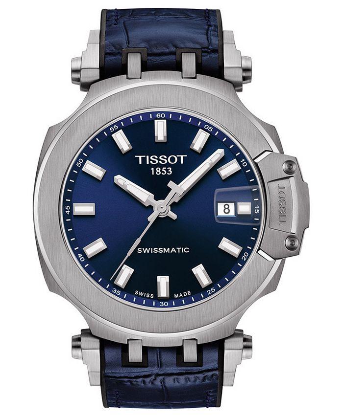 Tissot - Men's Swiss Automatic T-Race Swissmatic Blue Rubber Strap Watch 49mm