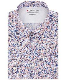 Men's Extra Slim-Fit Performance Stretch Temperature Regulating Print Dress Shirt