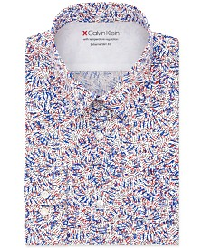 Calvin Klein Men's Extra Slim-Fit Performance Stretch Temperature Regulating Print Dress Shirt