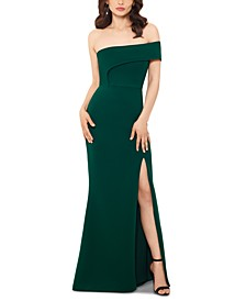 Scuba Off-Shoulder Gown