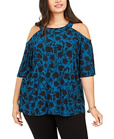 INC Plus Size Printed Cold-Shoulder Top, Created For Macy's