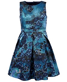 Big Girls Floral Jacquard Dress