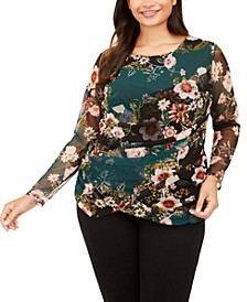 INC Plus Size Printed Wrap Top, Created For Macy's