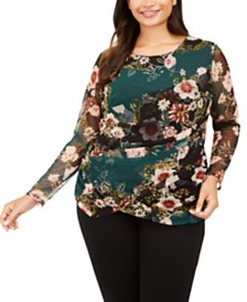 I.N.C. Plus Size Printed Wrap Top, Created For Macy's