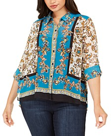 INC Plus Size Scarf-Print Top, Created For Macy's