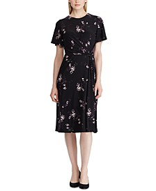 Petite Floral Twist-Front Jersey Dress