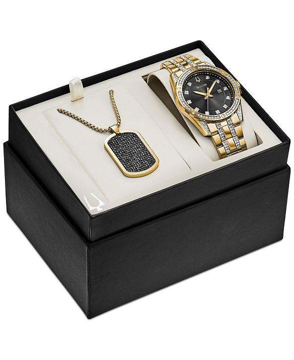 Bulova Men's Gold-Tone Stainless Steel & Swarovski Crystal Bracelet Watch 42mm