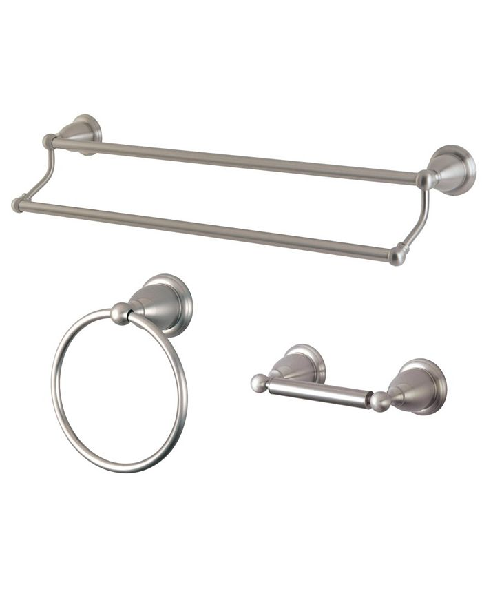 Kingston Brass - Heritage 3-Pc. Dual Towel Bar Accessory Set in Brushed Nickel