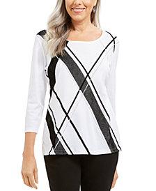 Karen Scott Angled-Stripe Top, Created For Macy's