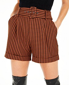 Becca Tilley x Powersuit Gingham Belted Shorts, Created For Macy's