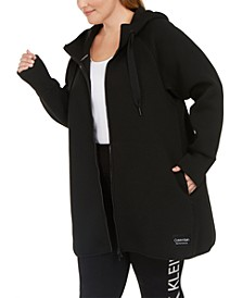 Plus Size Hooded Warm-Up Jacket