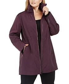 Plus Size Zipper Hood Warm-Up Jacket