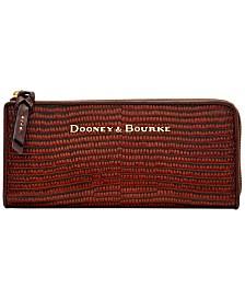Dooney & Bourke Lizard Embossed Leather Continental Zip Clutch Wallet