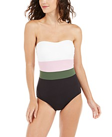 Colorblocked Strapless One-Piece Swimsuit