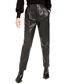 Becca Tilley x Bar III Pleated Faux-Leather Pants, Created For Macy's