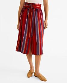Mango Striped Midi Skirt