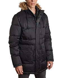 Member's Only Men's Heavy Parka with Faux Fur Hood Trim and Cargo Pockets