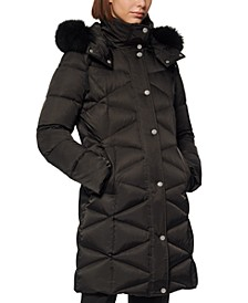 Diamond-Quilt Fox Fur-Trim Hooded Down Coat