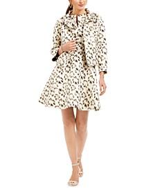 Animal-Print Jacquard A-Line Dress