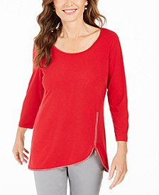 Plus Size Rhinestone-Trim 3/4-Sleeve Top, Created for Macy's