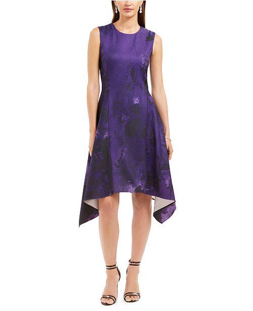 Natori Abstract Floral Jacquard A-Line Dress