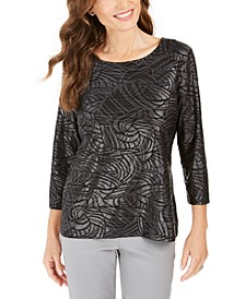 Petite Printed Metallic Jacquard Top, Created For Macy's