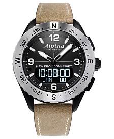 Alpina Men's Swiss Analog-Digital AlpinerX Tan Leather Strap Hybrid Smart Watch 45mm