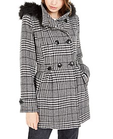 Juniors' Faux-Fur Trim Plaid Coat