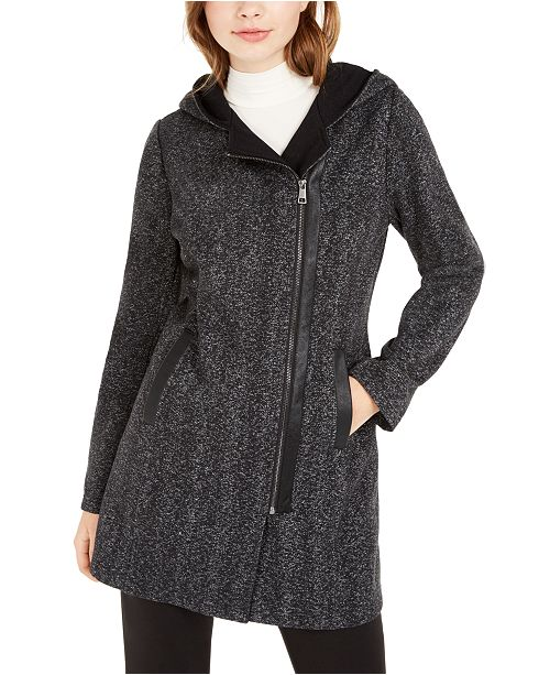 BCX Juniors' Hooded Faux-Leather-Trim Fleece Coat