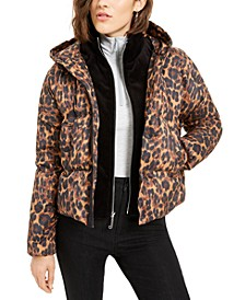 Juniors' Printed Puffer Coat