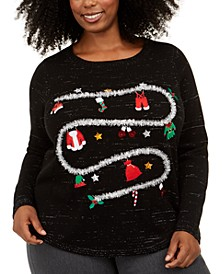 Plus Size Holiday-Laundry Graphic Sweater, Created For Macy's