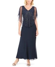 J Kara Beaded Overlay Gown