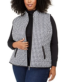 Plus Size Cozy Houndstooth Puffer Vest, Created For Macy's