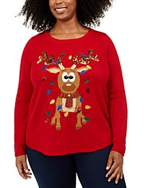 Plus Size Reindeer Graphic Sweater, Created For Macy's
