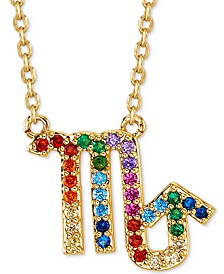 "Rainbow Cubic Zirconia Zodiac Pendant Necklace in Gold-Tone Fine Silver Plating, 16"" + 2"" extender"