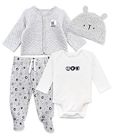 Baby Boy and Girl 4-Piece Footed Layette Set