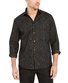 Men's Classic-Fit Geometric Metallic Shirt, Created For Macy's