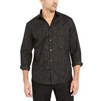Alfani Men's Classic-Fit Geometric Metallic Shirt